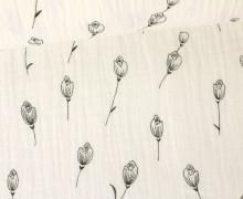 Musselin - Muslin - Blumen - Grafisch - Vintage - Double Gauze - Warmweiß