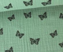 Musselin - Muslin - Schmetterling - Butterfly - Vintage - Double Gauze - Pastellgrün