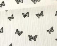 Musselin - Muslin - Schmetterling - Butterfly - Vintage - Double Gauze - Warmweiß