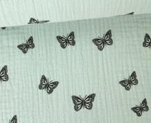 Musselin - Muslin - Schmetterling - Butterfly - Vintage - Double Gauze - Mintgrün