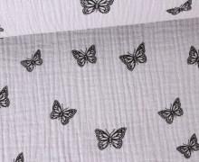 Musselin - Muslin - Schmetterling - Butterfly - Vintage - Double Gauze - Hellgrau