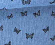 Musselin - Muslin - Schmetterling - Butterfly - Vintage - Double Gauze - Taubenblau