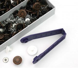 100 Jeansknöpfe im Set - Nähfrei- Lorbeerkranz - 17mm - Altkupfer