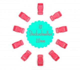 10 Steckschnallen - 20mm - Kunststoff - Rosa