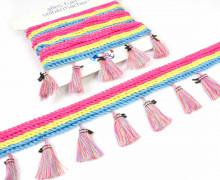 1m Tasselborte - Trio - Quasten - Streifen - Pink/Gelb