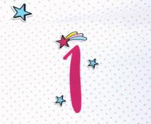 Jersey - Sterne - Jahreszahl - 1 Jahr - Girls - Paneel - Weiß - Bio-Qualität - abby and me