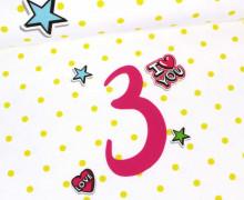 Jersey - Paneele für den Geburtstag - Sterne - Jahreszahl - 3 Jahre - Girls - Weiß - abby and me