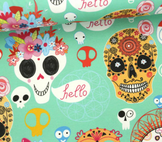 Jersey - Sugar Skulls Kids - Halloween - Mint - Bio-Qualität - abby and me