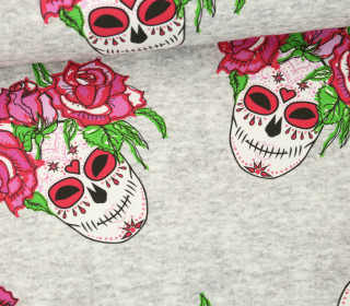 Jersey - Rose Sugar Skulls - Halloween - grau - meliert -  abby and me