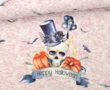 Jersey - Paneel - Mrs. Pumpkin Skull - Halloween - rosa - meliert - abby and me