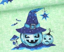Jersey - Nightsky Pumpkin - Halloween - Paneel - Grün Meliert - Bio-Qualität - abby and me