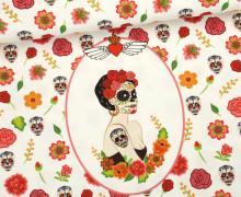 Jersey - Paneel - La Señora Muerte - Halloween - weiß - abby and me