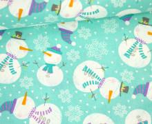 Stoff - Schneemann - Polar Ice Christmas -  Pastellblau