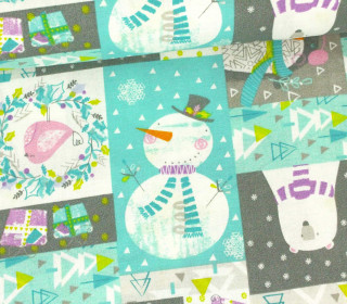 Stoff - Eisbär - Patchwork - Polar Ice Christmas -  Mint/Grau