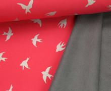 Softshell - Fleece - Vögel - Magic Reflection - Pastellpink