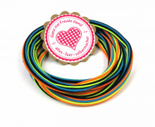 1m Gummikordel - Gummilitze - Streifen - Stripes - 5mm - Blau/Schwarz