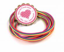1m Gummikordel - Gummilitze - Streifen - Stripes - 5mm - Pink/Blau
