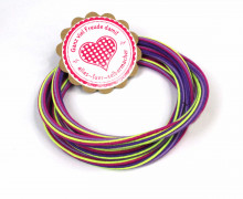 1m Gummikordel - Gummilitze - Streifen - Stripes - 5mm - Lila/Beere