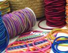 1m Gummikordel - Gummilitze - Streifen - Stripes - 5mm - Blau/Gelb