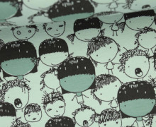 Leichter Kuschelsweat - Geraut - Kids World - Kinder - Gesichter - Mintgrün