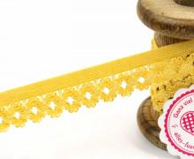 1 Meter Gummi mit Zierabschluss - Blumen - Zierborte - Ziergummi - 20mm - Gelb
