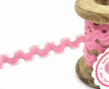 1 Meter Gummi - Zierborte - Wellen - Schlaufen - Ziergummi - 15mm - Rosa