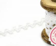1 Meter Gummi - Zierborte - Wellen - Schlaufen - Ziergummi - 15mm - Weiß