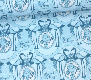 Stoff - Flamingo - Girl - Love and Magic - Tante Ema - Pastellblau