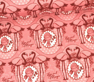 Stoff - Flamingo - Girl - Love and Magic - Tante Ema - Pastellrosa