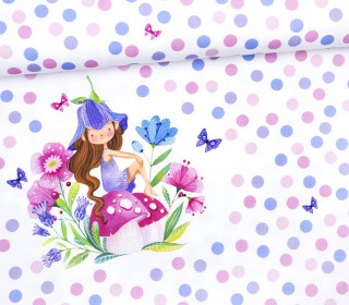 Jersey - Paneel - Pilzfee - Wildblume Illustration - abby and me
