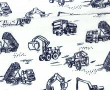 Stoff - Double Gauze - Baufahrzeuge - Baustelle - Bagger - Weiß
