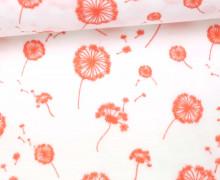 Stoff - Double Gauze - Pusteblume - Flower -  Weiß/Apricot