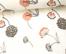 Stoff - Double Gauze - Sternblume - Pusteblume - Flower -  Weiß/Orange