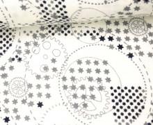 Stoff - Double Gauze - Linien - Kreise - Geometric - Warmweiß