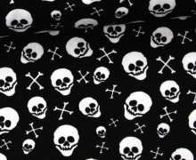 Stoff - Totenkopf - Skull - Bones - Popeline - Schwarz