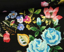 Stoff - Feine Baumwolle - Blumen - Flowers - Schwarz