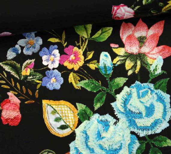 stoff feine baumwolle blumen flowers schwarz. Black Bedroom Furniture Sets. Home Design Ideas