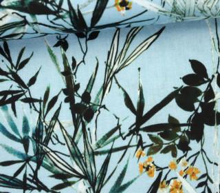 Stoff - Feine Baumwolle - Blätter - Ranken - Pastellblau
