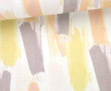 Fashionstoff - leicht elastisch - Striche - Gemalt - Weiß