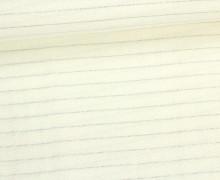Fashionstoff - Blusenstoff - Glitzer - Streifen - Cremeweiß/Silber