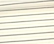 Fashionstoff - Blusenstoff - Glitzer - Streifen - Breit - Cremeweiß/Gold