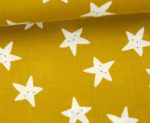Stoff - Happy Stars - Sterne - Gesichter - Senfgelb