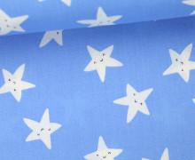 Stoff - Happy Stars - Sterne - Gesichter - Taubenblau