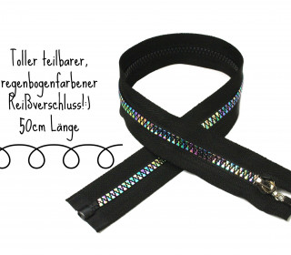 1 Reißverschluss - Rainbow - 50cm - teilbar - Schwarz