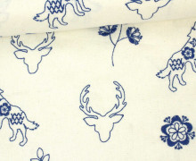 Feste Baumwolle - Waldtiere - Ziernaht - Stickerei - Kokka - Warmweiß