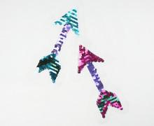1 Aufnäher - Pfeil  - Wendepailletten pink/türkis