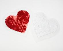 1 Aufnäher - Herz - Wendepailletten