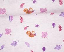 Sommersweat - Kombistoff - Kleine Herbstelfe - Wildblume-Illustration - zart rosa meliert - abby and me