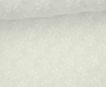 Stoff - Stickerei - Blumen - Flowers - Cremeweiß