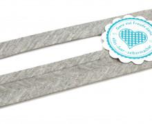 1 Meter elastisches Schrägband - 15mm - Jersey - Hellgrau Meliert